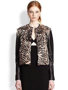 Alice + Olivia - Trix Cropped Leather-Trimmed Fur Jacket