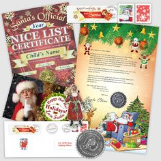 Classic Letter and Scroll from Santa Nice List, Santa Letter, Santa Gifts, Kid Names, Certificate, Christmas Holidays, How To Memorize Things, Letters, Children