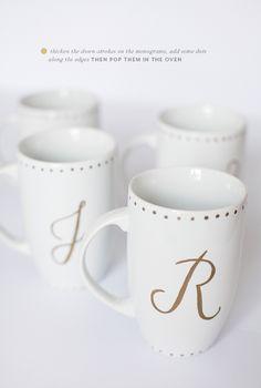 DIY monogrammed gold sharpie mugs | prepping the mugs | PINEGATE ROAD