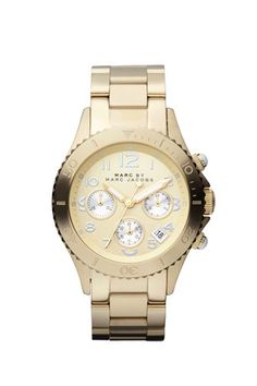 A classic Marc by Marc Jacobs chronograph with two tone detailing, gold dial with brushed silver chronograph detail.  Polished top ring and sides, with brushed outer links.  40MM dial.