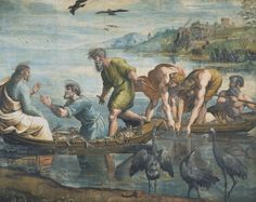 RAPHAEL (URBINO 1483 - ROME 1520)_The Miraculous Draft of Fishes c.1515-6_Bodycolour over charcoal on many sheets of paper, mounted on canvas 319.0 x 399.0 cm_Victoria & Albert Museum [London]