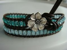 Aquamarine and Teal Beaded Leather Wrap Bracelet by tinacdesigns, $20.00