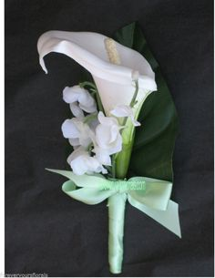 NEW White & Mint Calla Lily Mens Boutonnieres,Mint Green Bout, Mint Boutonniere #KymMaree