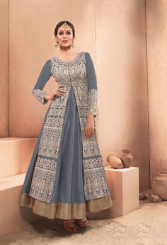 Gray Dhupian Indo Western Anarkali Suit 63342