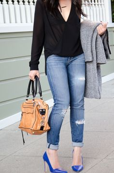 Faux Wrap Blouse - The Fancy Pants Report Casual Jeans, Jeans Style, Look Fashion, Fashion Outfits, Womens Fashion, Fall Fashion, Fashion Tips, Fall Outfits, Casual Outfits