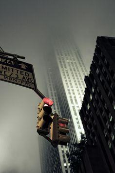 ♂ Mist city traffic light different persfective