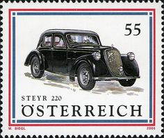 "Cars - ""Steyr 220"" Steyr, Limousine, Vw Beetles, Mail Art, Stamp Collecting, Motor Car, Postage Stamps, Austria, Antique Cars"