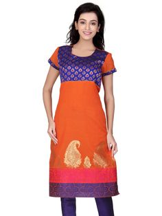 Get the perfect #festival look with this #lovely orange #chanderi #silk A-Line #kurta with a combination of pink & purple #weave and #brocade #yoke
