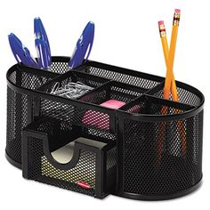 Steel Mesh Pencil Cup Organizer with Four Compartments for only $13.75. Divided compartments make it easy to organize pens, pencils and markers, keeping them uncluttered and within reach. Two additional smaller compartments are great for paper clips and other small accessories. Usually arrives in 1-2 business days. For similar office supplie, visit us online at http://www.cleansweepsupply.com