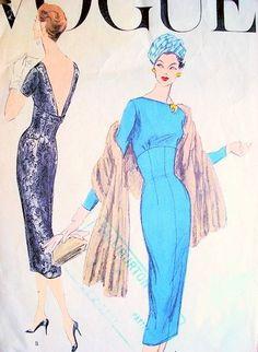 1950s STRIKING Cocktail Evening Dress Pattern VOGUE 8993 Very Slim Wiggle Empire Evening Dress Bateau Neckline Low V or Regular Back  Bust 32 Vintage Sewing Pattern