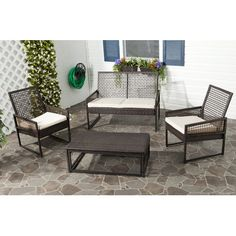 Contemporary open weave wicker and metal outdoor seating. Safavieh Shawmont 4 Piece Deep Seating Group with Cushion | Wayfair