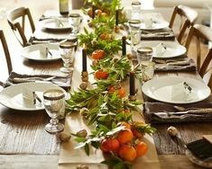 thanksgiving tabletop persimmons bay boughs l Gardenista