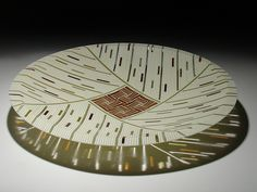 Amber Feather Inlay 15 by Patti and Dave Hegland: Art Glass Platter available at www.artfulhome.com