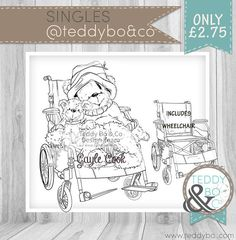 Bionic Bo Wheelchair superhero Bear DIGI STAMP