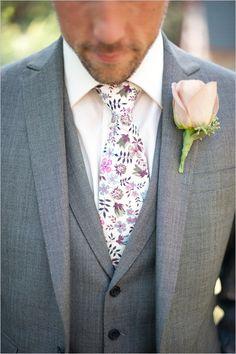 Grey suit with floral tie