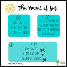 """""""The Power of Yet."""" see also https://www.ted.com/talks/carol_dweck_the_power_of_believing_that_you_can_improve?language=en"""
