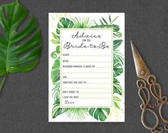 Advice for the Bride Coordinates with Tropical Bridal Shower