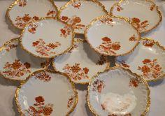 50% OFF! Set of (10) Limoges Porcelain Luncheon Plates ~ Rococo Rim ~ Rust & Burnt Orange Colored Flowers ~ Coiffe / Elite. ca.:1891-1900