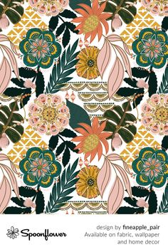 Customize your own home decor, #wallpaper and #fabric at Spoonflower. Shop your favorite indie designs on #fabric, #wallpaper and home decor products on Spoonflower, all printed with #eco-friendly inks and handmade in the United States. #patterndesign #textildesign #pattern #digitalprinting #homedecor #Boho #Tropical Stoff Design, Spoonflower, Indie, Watercolor Flowers, Textile Design, Custom Fabric, Diy Wedding, Pattern Design, Digital Prints