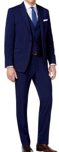 Calvin Klein Blue Mens Size 38S Slim Fit 3pc Two Button Suit Set