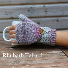 Glittens in silver and pink marbled yarn  / grey glittens / convertible gloves…