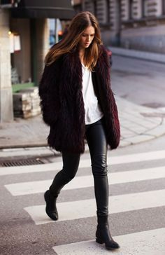 Burgundy faux fur jacket with faux leather leggings