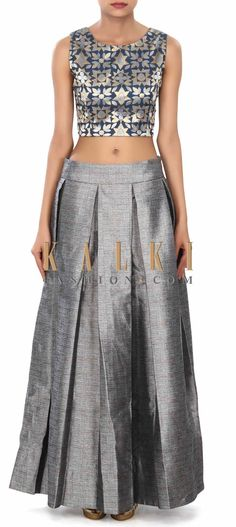 Buy Online from the link below. We ship worldwide (Free Shipping over US$100) Price- $279 Click Anywhere to Tag http://www.kalkifashion.com/grey-silk-skirt-with-crop-top-only-on-kalki.html