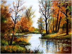 Works by the painter Anna Sztopka – Fotografie Beautiful Paintings Of Nature, Beautiful Nature Pictures, Nature Paintings, Beautiful Landscapes, Watercolor Landscape, Landscape Art, Landscape Paintings, Watercolor Art, Autumn Painting