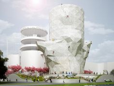 The city of Amsterdam wasn& quite sure what to do with three abandoned sewage treatment silos, so they decided to hold a competition to determine the best adaptive reuse project. One of the projects submitted for the competition was by Amsterdam-based NL Indoor Climbing Gym, Climbing Wall, Rock Climbing, Computer Architecture, Eco Architecture, Amsterdam, Urban Design Diagram, Passive Design, Sewage Treatment