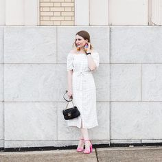 Does anyone else feel like this week has been a doozy? 😑 head over to the blog today to see more pics of this fun off-the-shoulder white dress and these fun earrings by @michelle.made.it 💕❤️💕 http://liketk.it/2suN