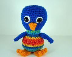Crochet Amigurumi Stuffed Blue Bird Plush    Silly by wigglysee, $14.00