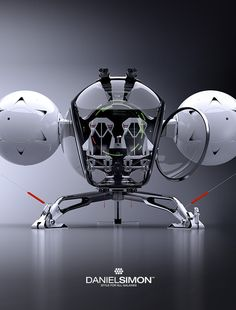 The dragonfly shaped Bubble Ship from the movie 'Oblivion'. Concept design by Daniel Simon.