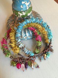 Gemstone Sari Silk Bangles. Bracelets. By Dawn Fuge, Precious Sparkle Jewellery