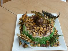 Grandson's Dinosaur cake with chopped chocolate honeycomb for rocks and green coloured coconut for the grass.