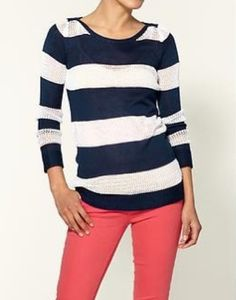 Striped tee with coral jeans