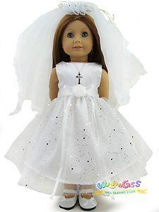 Handmade First Communion Wedding Dress for 18'' American Girl Doll | eBay