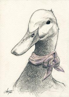 The Farm Animals Pencil Drawing 44 - Art Bird Drawings, Cool Art Drawings, Art Drawings Sketches, Animal Drawings, Pencil Drawings, Kawaii Drawings, Duck Drawing, Painting & Drawing, Goose Drawing