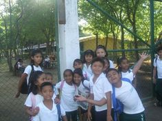 Some of the kids from Casa Bernabe Orphanage in front of their school