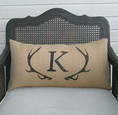 Deer Antler Monogram Pillow  Lumbar Pillow   by nextdoortoheaven, $35.00