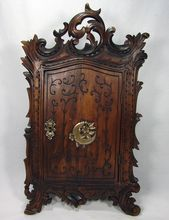 Antique Hand Carved French or Black Forest Wall Cabinet, Superb Figural Hardware, Lock & Key