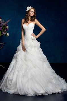 2015 Gorgeous Wedding Dresses Ball Gown Sweetheart Lace Bodice Court Train Beaded Organza