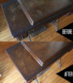 Fix Up Old Furniture and Flea Market Finds Using These Natural Home Remedies Natural (and easy) home remedies using oil, vinegar and walnuts for reviving wood furniture — hard to believe it's the same piece! Mission Furniture, Furniture Repair, Repurposed Furniture, Furniture Projects, Furniture Makeover, Antique Furniture, Restoring Furniture, Painted Furniture, Restoring Wood