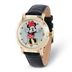 Disney Minnie Mouse Women's Shiny Silver Watch w/ Black Leather Strap - 9398708 Minnie Mouse Watch, Mickey Mouse, Telling Time, Jewelry Watches, Quartz, Black Leather, Silver, Disney Jewelry, Vintage Inspired