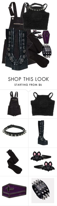"""Everything is black, no turning back."" by siennabrown ❤ liked on Polyvore featuring H&M, Demonia, Charlotte Russe, Dark, goth, gothic, alternative and gothgoth"
