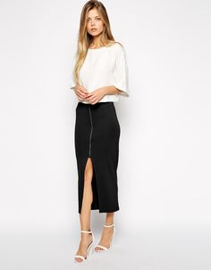 ASOS Longline Pencil Skirt in Ponte with Zip Front, $45