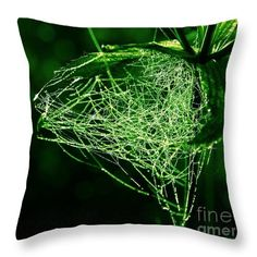 Morning dew in the green Throw Pillow for Sale by Sverre Andreas Fekjan Green Throw Pillows, Morning Dew, Pillow Sale, Poplin Fabric, Cleaning, Zipper, Printed, Decoration, Stylish