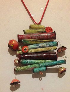 Polymer clay, necklace My Christmas Tree