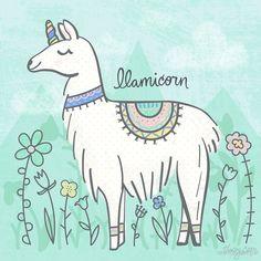 'Llamicorn' by noondaydesign Alpacas, Llama Drawing, Bullet Art, Dibujos Cute, Cute Drawings, Cute Wallpapers, Cute Art, Painted Rocks, Art Projects