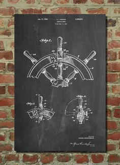 Nautical Steering Patent Art Print Patent Art by PatentPrints, $6.99
