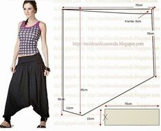 Free harem pants pattern - text is Portuguese - run it through Bing/babelfish to translate Sewing Patterns Girls, Clothing Patterns, Dress Patterns, Sewing Pants, Sewing Clothes, Diy Clothes, Harem Pants Pattern, Thai Fisherman Pants, Aladdin Pants